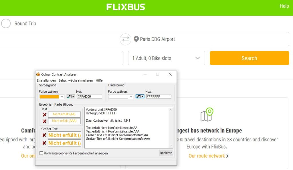 "A screenshot of a yellow connection search button on the FlixBus website, an additionally displayed window of a contrast ratio analysing software shows that the requirements are ""not fulfilled"" here."